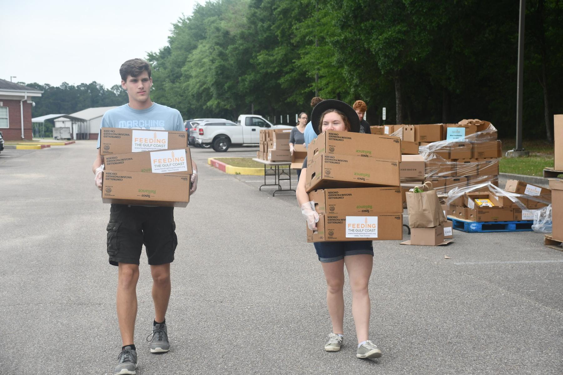 Carrying-food-boxes